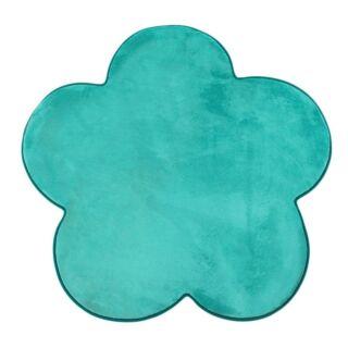 Tapis forme fleur turquoise 90x90cm Flanelle