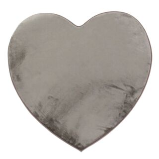 Tapis forme coeur taupe 90x85cm Flanelle Love